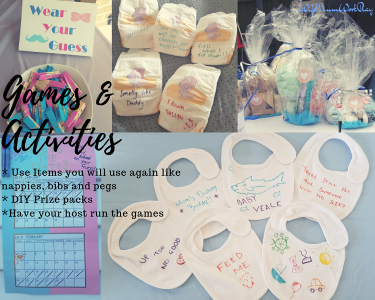 IMAGE Games and Activities - use items you will use again like nappies, bibs, and pegs - DIY prize packs - have your host run the games