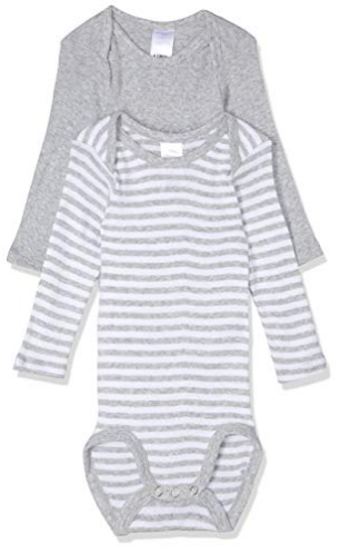 IMAGE  Bonds Baby Long Sleeve Bodysuit (2 Pack) - Grey Stripe & White