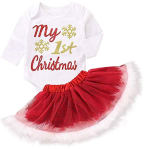 MAMOWEAR Toddle Baby Girls Christmas Outfits Santa Long Sleeve Romper + Plaid Skirts with Headbands Clothes  https://amzn.to/2ML3Bla