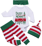 Camidy 4Pcs Baby Boy Girl Christmas Outfits Romper+Pant+Headband+Hat Clothes Set  https://amzn.to/2BIHgP0