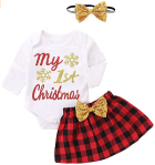Viworld My 1st Christmas Clothes Baby Girls Long Sleeve Bodysuit with Xmas Plaid Bowknot Skirt Headband Outfit Set  https://amzn.to/2ojWG9g