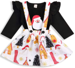 HAPPYMA Christmas Outfits Toddler Baby Girl Skirts Sets Santa Ruffle Top + Reindeer Floral Suspender Dress Fall Winter Clothes 1-5T  https://amzn.to/367vj3o