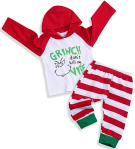 Happy Town Newborn Toddler Baby Girls Christmas Clothes Long Sleeve Hoodie Shirt Stripe Pants 2Pcs Xmas Outfit Sets  https://amzn.to/2NeiSdr