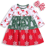 RCPATERN Toddler Baby Girl Clothes Kids Christmas Outfits Long Sleeve Print Dress + Headband Fall Clothing Set 1-6T  https://amzn.to/2PkPYuD