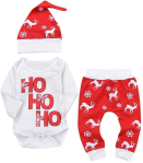 4Pcs Xmas Outfit Newborn Baby Boy Girl Romper Top+Pant Reindeer Christmas Outfits Set  https://amzn.to/2JmhvYP