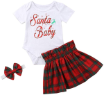 Viworld Infant Baby Girls Christmas Outfit Santa Baby Bodysuit with Xmas Plaid Skirt Headband Clothes Set  https://amzn.to/2p1U54g