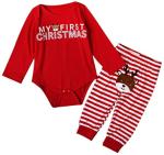 Baoblaze My First Christmas Newborn Baby Girls Boys Deer Romper Bodysuit Outfits+Pants - Deer, 6-12Months  https://amzn.to/31IqOJ8