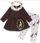 Viworld Toddler Baby Girls Christmas Clothes Reindeer Tassel Top Dress + Deer Pants + Scarf Outfit Set  https://amzn.to/3410yv4