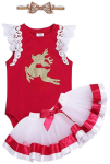 iiniim Baby Girls' Toddler Christmas Deer Outfit Romper, Tutu Skirt Headband Set  https://amzn.to/31GzxeF