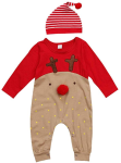 LUOEM Newborn Baby Boys Girls Christmas Long Sleeve Cute Red Nose Cartoon Reindeer Pajama Jumpsuit Stripe Hat Bodysuit Set Suitable for 12-18 Months(90cm)  https://amzn.to/2MHlqS2