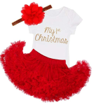 iiniim Baby Girls' My 1St Christmas Outfit Romper With Skirt And Headband  https://amzn.to/2oY4a22